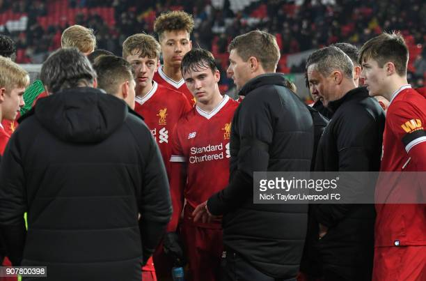 Liverpool U18 manager Steven Gerrard issues instructions to his players during the Liverpool v Arsenal FA Youth Cup game at Anfield on January 20...