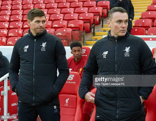 Liverpool U18 manager Steven Gerrard with his assistant Tom Culshaw before the Liverpool v Arsenal FA Youth Cup game at Anfield on January 20 2018 in...