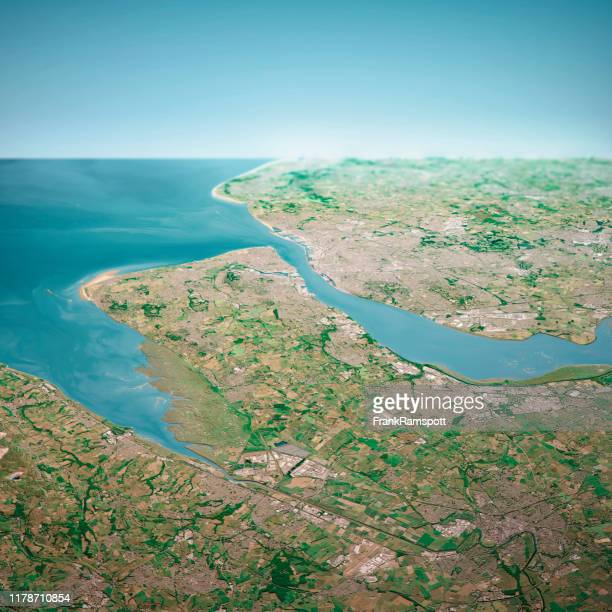liverpool uk 3d render aerial horizon view from south jun 2018 - frank ramspott stock pictures, royalty-free photos & images