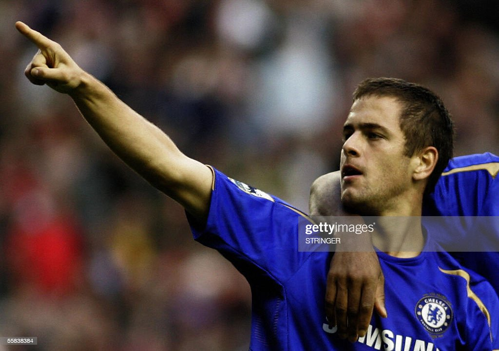 Chelsea's goal scorer Joe Cole celebraters during their premiership match against Liverpool at Anfield football grounds, Liverpool 2 October 2005. Chelsea won the game 4-1.