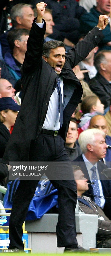 Chelsea's Manager Jose Mourinho celebrates during their premiership match against Liverpool at Anfield football grounds, Liverpool 2 October 2005. Chelsea won 4-1.