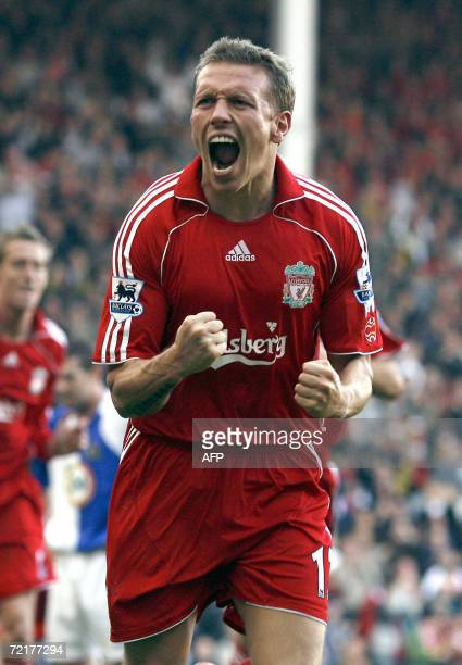 Liverpool, UNITED KINGDOM: Liverpool's Craig Bellamy of Wales celebrates after scoring a goal against Blackburn Rovers during their English...