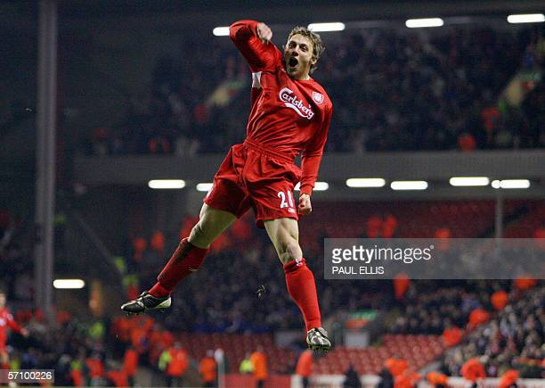 Liverpool's Stephen Warnock celebrates scoring against Fulham during their English Premiership soccer match at Anfield Liverpool England 15 March...