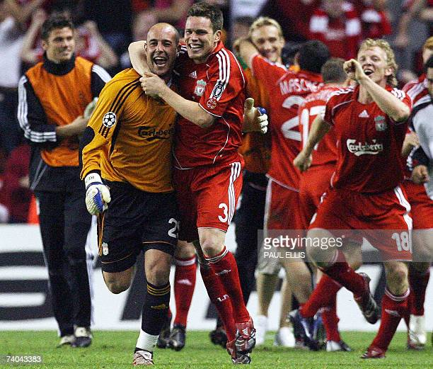 Liverpool, UNITED KINGDOM: Liverpool's Steve Finnan celebrates with Spanish goalkeeper Pepe Reina after defeating Chelsea in their European Champions...