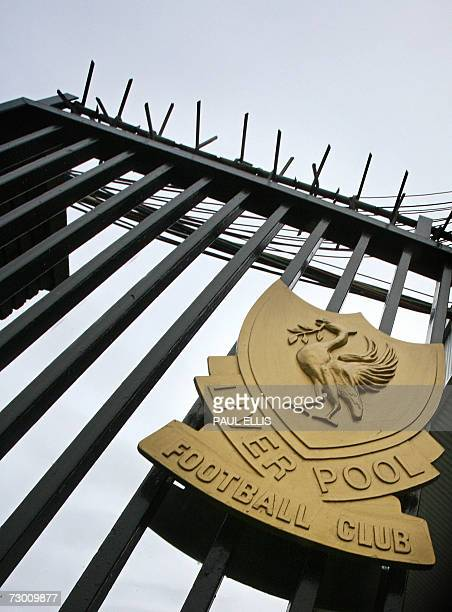 The Liverpool football club emblem is pictured on a gate at the Anfield ground in Liverpool northwest England 16 January 2007 Liverpool chief...