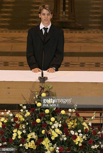 William Eborall a friend of Anthony Walker addresses mourners during the funeral of murdered teenager Anthony Walker 25 August 2005 The 18yearold...