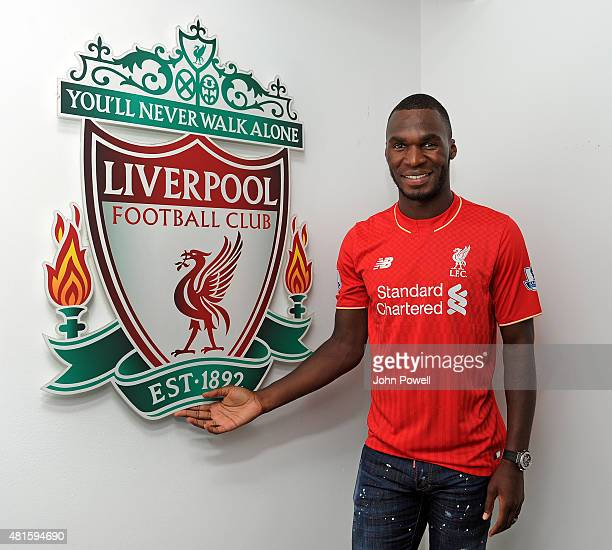 Liverpool unveil new signing Christian Benteke at Melwood Training Ground on July 22 2015 in Liverpool England