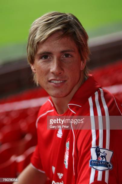 Liverpool unveil new signing Fernando Torres at a press conference held at Anfield on July 4 2007 in Liverpool England