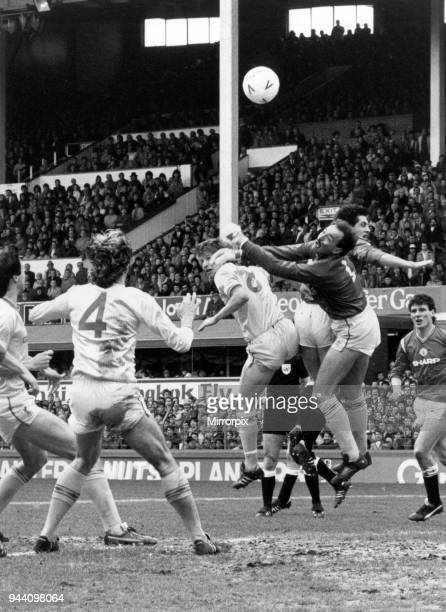 Liverpool v Manchester United FA Cup Semi Final match at Goodison Park 13th April 1985 Bruce Grobbelaar Liverpool Goalkeeper punches the ball away...