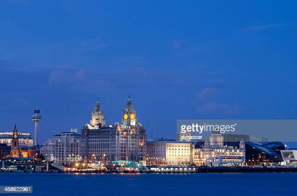 liverpool waterfront at night - quayside stock photos and pictures