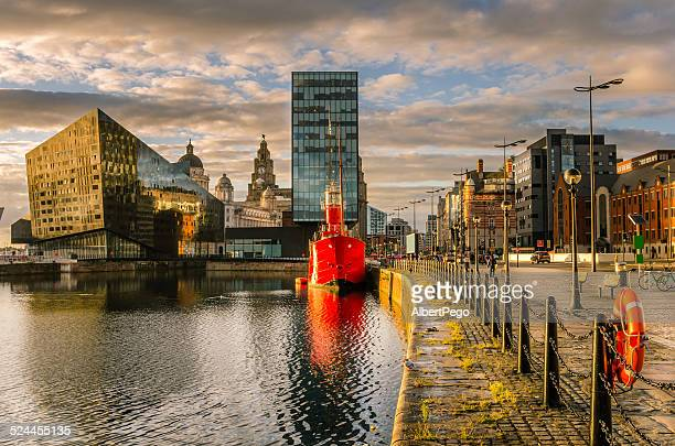 Liverpool's historic waterfront with modern and old architecture at sunset