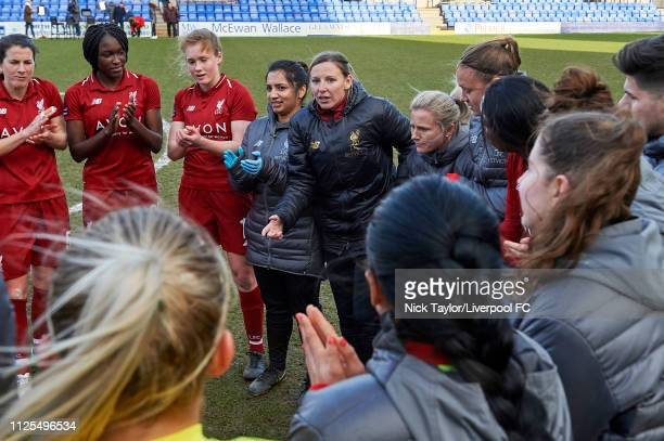 Liverpool Women manager Vicky Jepson talks to her players after the SSE Womens FA Cup game at Prenton Park on February 17 2019 in Birkenhead England