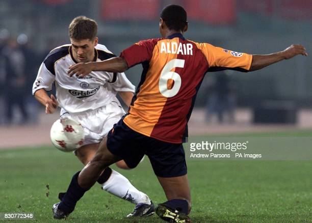 Liverpooll's Michael Owen attempts to bypass Roma's Aldair during their UEFA Champions League match in Stadio Olimpico Rome THIS PICTURE CAN ONLY BE...