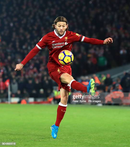 Liverpool's Adam Lallana in action during the Premier League match at Anfield Liverpool