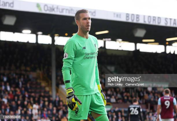 Liverpool's Adrian during the Premier League match between Burnley FC and Liverpool FC at Turf Moor on August 31 2019 in Burnley United Kingdom