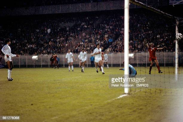 Liverpool's Alan Kennedy celebrates as his shot beats Real Madrid goalkeeper Agustin Rodriguez for the winning goal