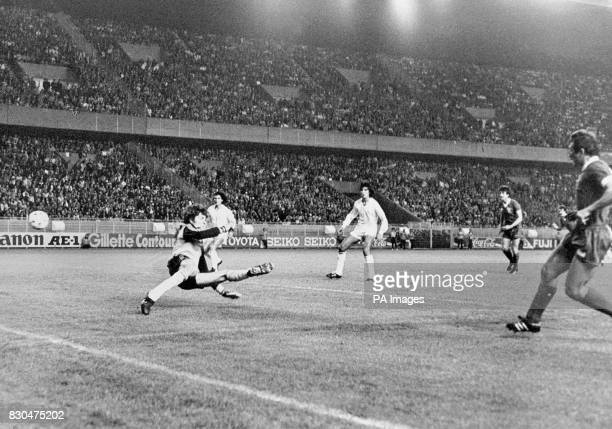 Liverpool's Alan Kennedy scores the only goal during the European Cup Final in Paris against Real Madrid beating goalkeeper Agustin