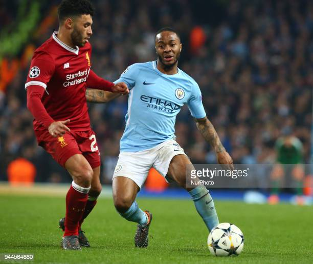 LR Liverpool's Alex OxladeChamberlain and Manchester City's Raheem Sterling during the UEFA Champions League Quarter Final Second Leg match between...