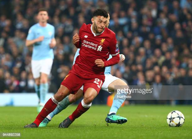 Liverpool's Alex OxladeChamberlain during the UEFA Champions League Quarter Final Second Leg match between Manchester City and Liverpool at Etihad...