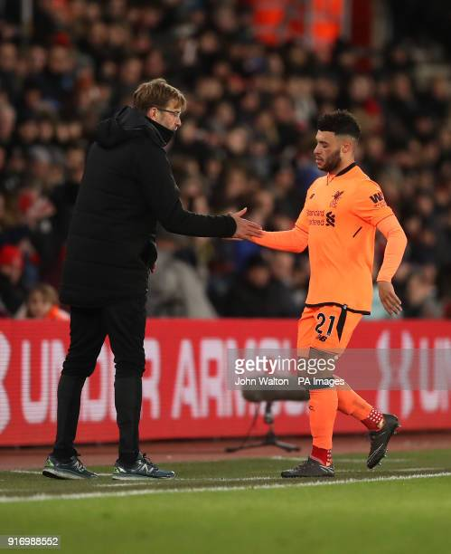 Liverpool's Alex OxladeChamberlain is substituted during the Premier League match at St Mary's Stadium Southampton