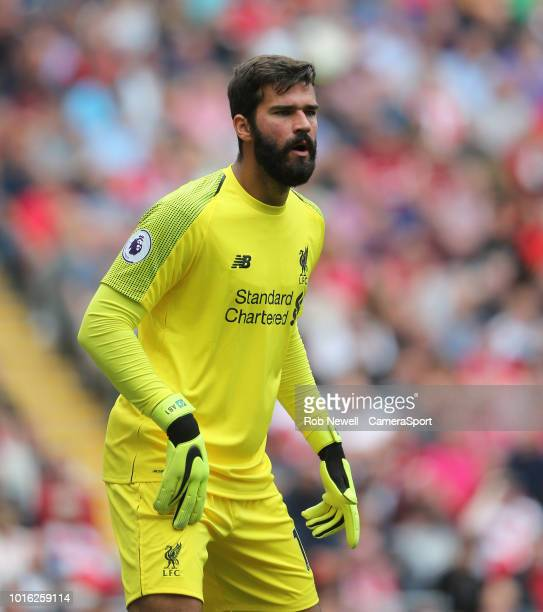 Liverpool's Alisson Becker during the Premier League match between Liverpool FC and West Ham United at Anfield on August 12 2018 in Liverpool United...