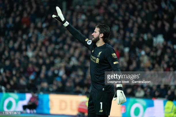 Liverpool's Alisson Becker during the Premier League match between West Ham United and Liverpool FC at London Stadium on January 29 2020 in London...