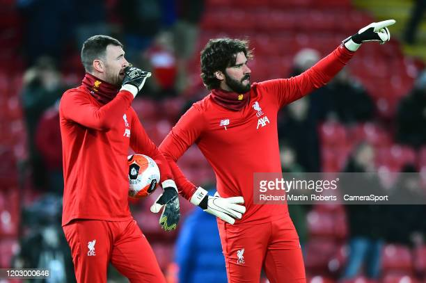 Liverpool's Alisson Becker gestures during the Premier League match between Liverpool FC and West Ham United at Anfield on February 24 2020 in...