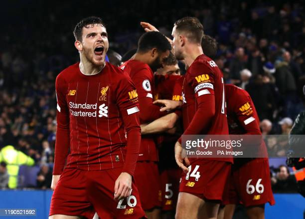 Liverpool's Andrew Robertson celebrates after Trent AlexanderArnold scores his side's fourth goal of the game during the Premier League match at the...