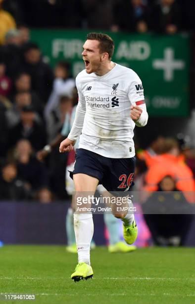 Liverpool's Andrew Robertson celebrates scoring his side's first goal of the game Aston Villa v Liverpool - Premier League - Villa Park .