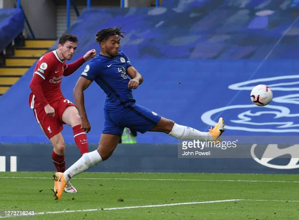 Liverpools Andrew Robertson during the Premier League match between Chelsea and Liverpool at Stamford Bridge on September 20 2020 in London England
