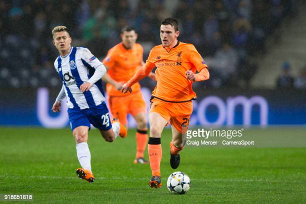 Liverpool's Andrew Robertson in action during the UEFA Champions League Round of 16 First Leg match between FC Porto and Liverpool at Estadio do...