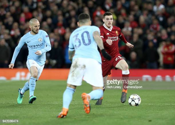 Liverpool's Andrew Robertson under pressure from Manchester City's Nicolas Otamendi during the UEFA Champions League QuarterFinal First Leg match...