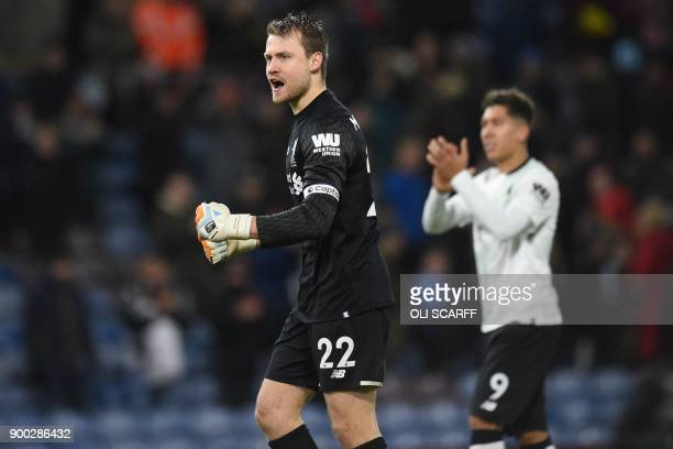 Liverpool's Belgian goalkeeper Simon Mignolet celebrates on the pitch after the English Premier League football match between Burnley and Liverpool...