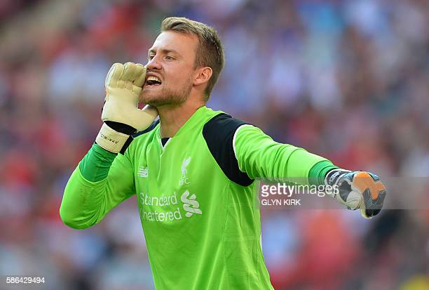 Liverpool's Belgian goalkeeper Simon Mignolet gestures during the preseason International Champions Cup football match between Spanish champions...