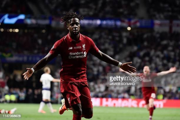 Liverpool's Belgium striker Divock Origi celebrates after scoring during the UEFA Champions League final football match between Liverpool and...