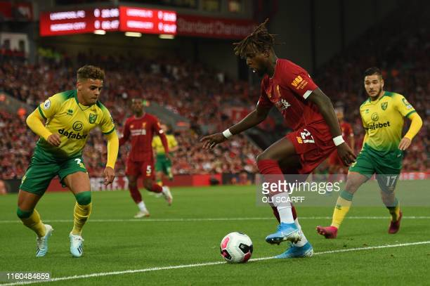 Liverpool's Belgium striker Divock Origi controls the ball during the English Premier League football match between Liverpool and Norwich City at...