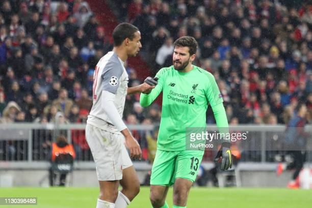 Liverpool's Brazilian goalkeeper Alisson during the UEFA Champions League last 16 second leg football match Bayern Munich v Liverpool in Munich...