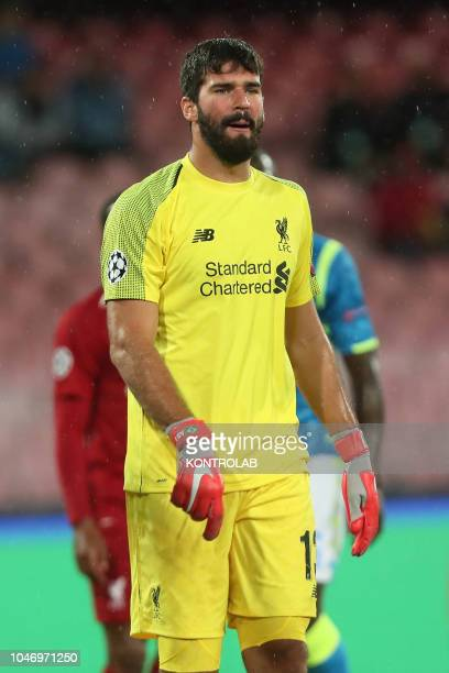 STADIUM NAPLES CAMPANIA ITALY Liverpool's Brazilian goalkeeper Allison Becker looks on during the UEFA Champions League football match SSC Napoli vs...