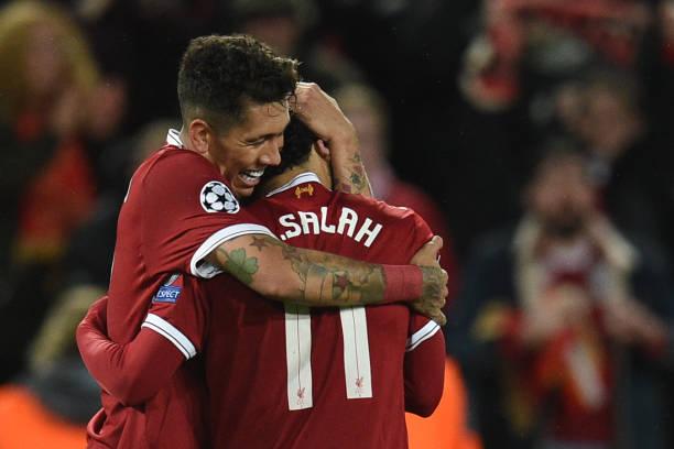 نتيجة بحث الصور عن Roberto Firmino celebrates with Salah after scoring Liverpool's fourth goal