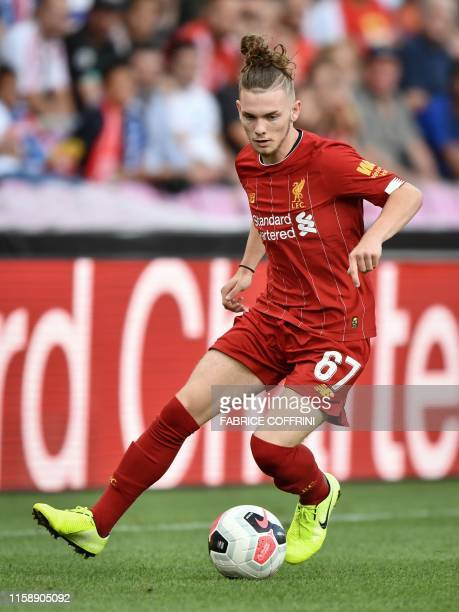 Liverpool's British midfielder Harvey Elliott controls the ball during International friendly football match between Liverpool and Lyon on July 31...