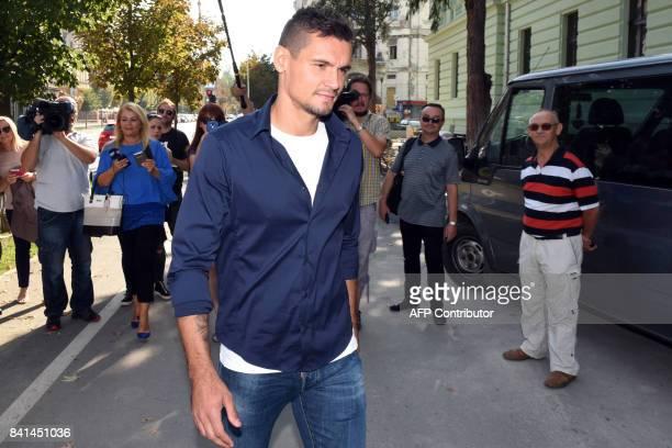 Liverpool's Croatian defender Dejan Lovren arrives at a tribunal in the eastern Croatian town of Osijek on September 1 2017 to testify in a...