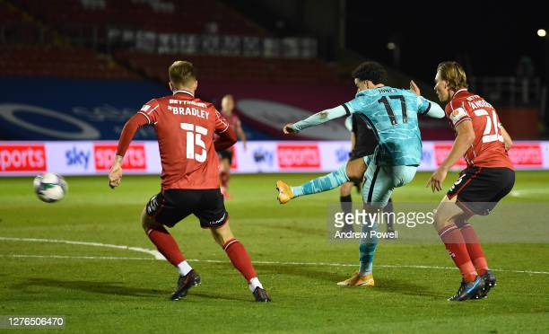 Liverpools Curtis jones Scores the forth goal and makes it 0-4 During the Carabao Cup third round match between Lincoln City and Liverpool at Sincil...