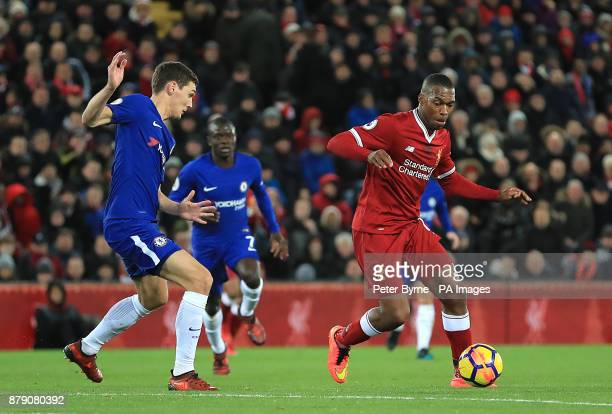 Liverpool's Daniel Sturridge and Chelsea's Andreas Christensen in action during the Premier League match at Anfield Liverpool