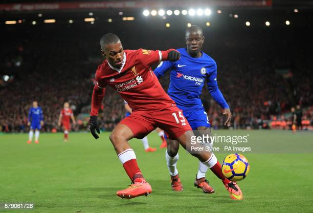 Liverpool's Daniel Sturridge and Chelsea's N'Golo Kante battle for the ball during the Premier League match at Anfield Liverpool