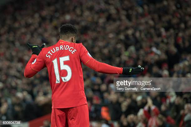 Liverpool's Daniel Sturridge celebrates scoring his sides fourth goal during the Premier League match between Liverpool and Stoke City at Anfield on...