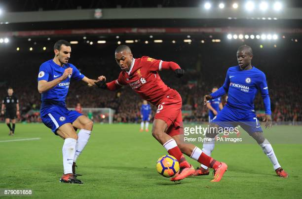Liverpool's Daniel Sturridge in action with Chelsea's Davide Zappacosta and N'Golo Kante battle for the ball during the Premier League match at...