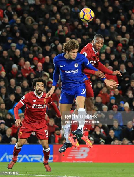 Liverpool's Daniel Sturridge in action with Chelsea's Marcos Alonso during the Premier League match at Anfield Liverpool