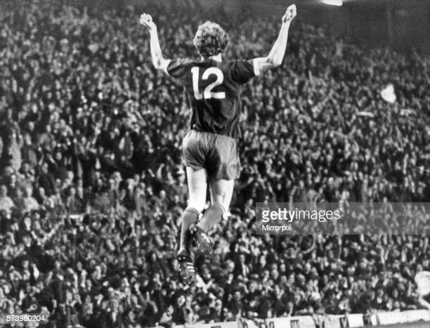 Liverpool's David Fairclough celebrates scoring in the 84th minute in the European Cup third round match against St Etienne at Anfield. Liverpool won...