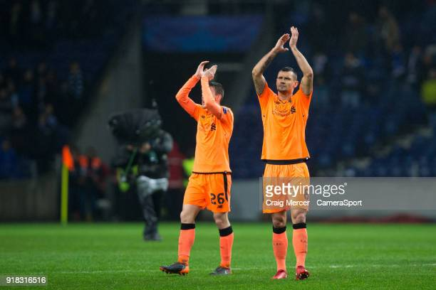 Liverpool's Dejan Lovren applauds the fans at the final whistle during the UEFA Champions League Round of 16 First Leg match between FC Porto and...