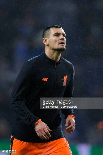Liverpool's Dejan Lovren during the prematch warmup during the UEFA Champions League Round of 16 First Leg match between FC Porto and Liverpool at...
